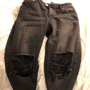 Denim - Boyfriend ripped black jeans